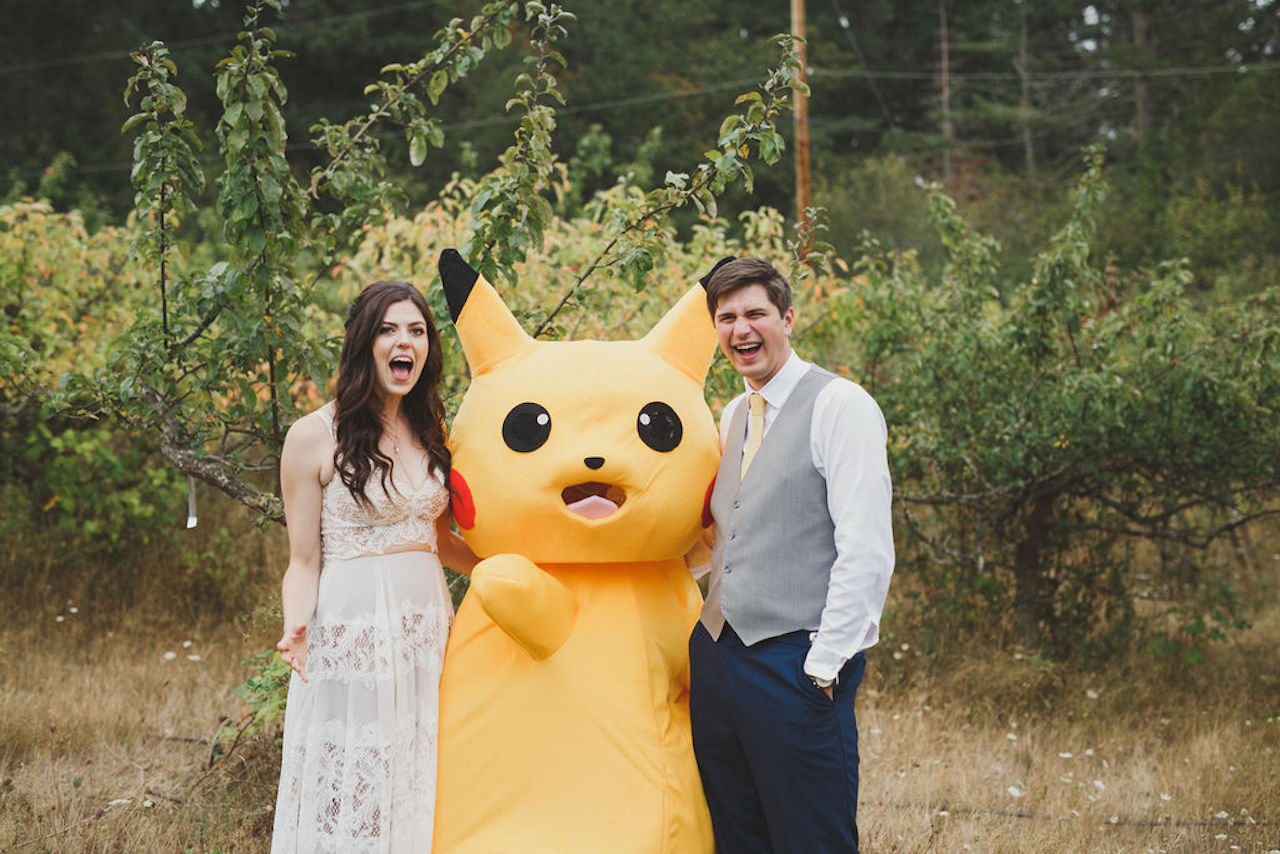 bride and groom at pokemon wedding