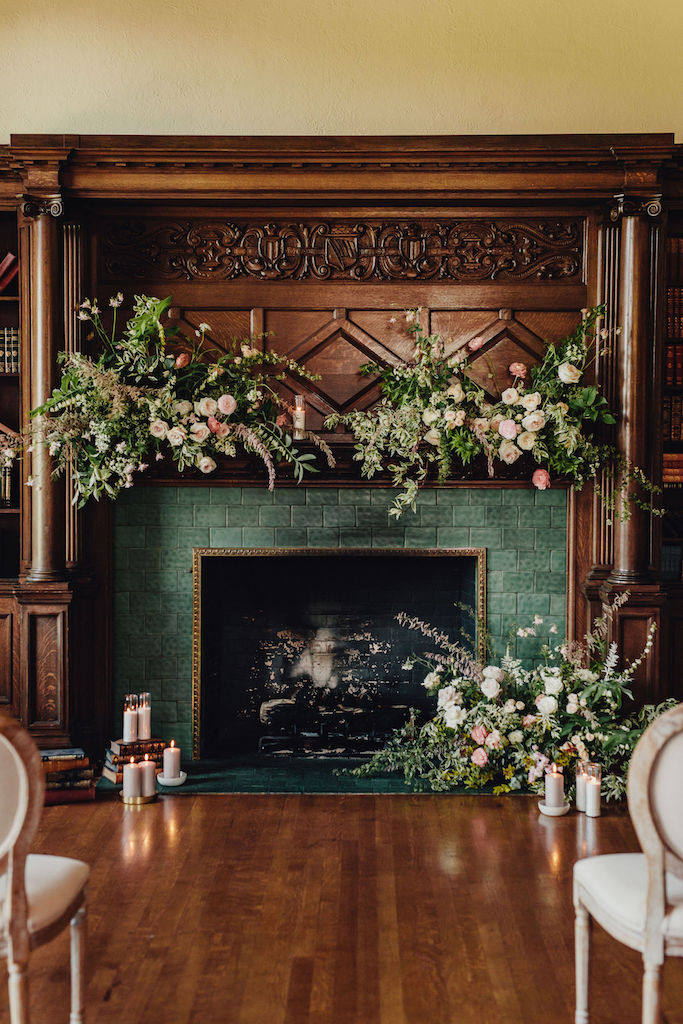 floral installation fireplace library