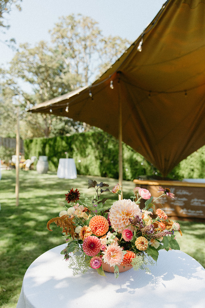 tent with floral centrepiece