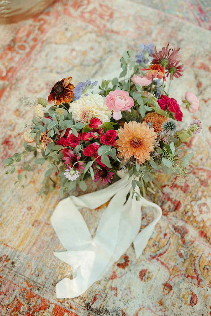 bouquet on moroccan rug