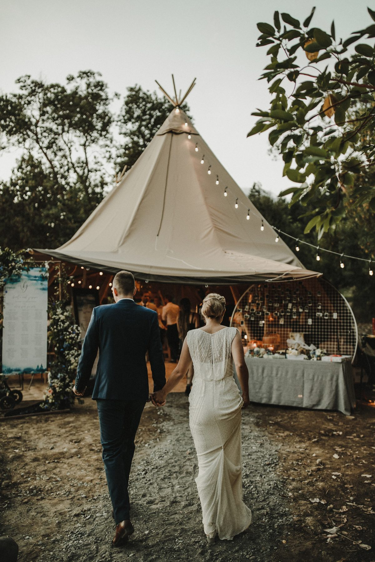 wedding couple tipi tent Bodega Ridge