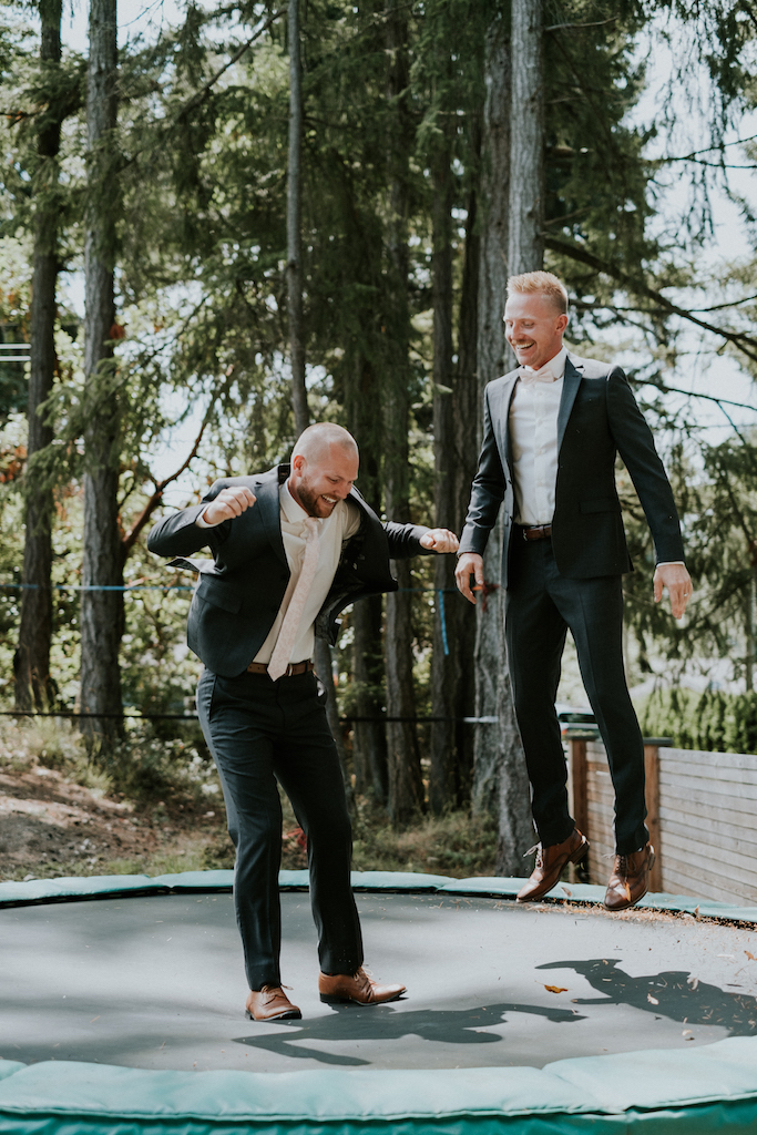 groomsmen on trampoline