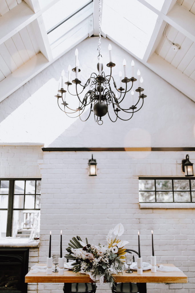 White brick chandelier
