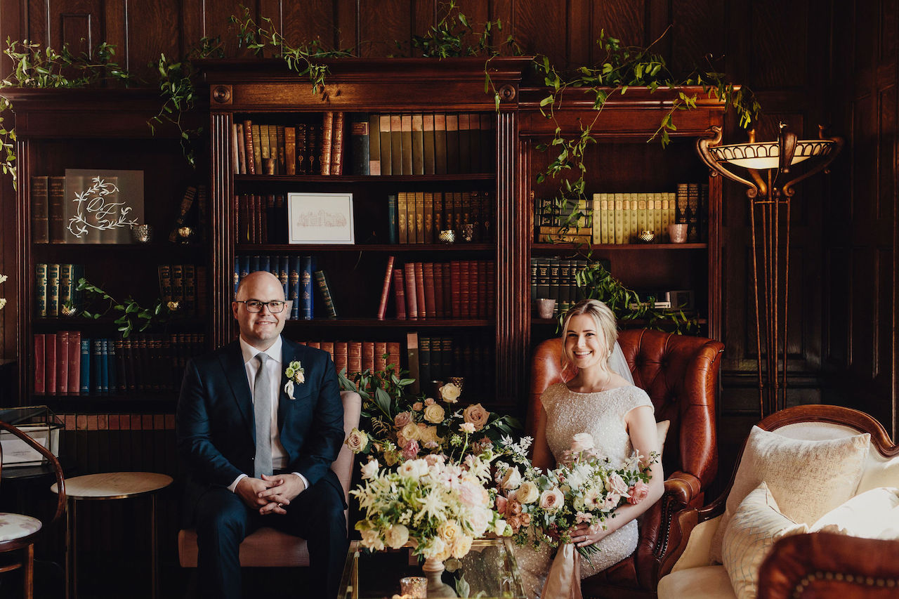 library room bridal portraits