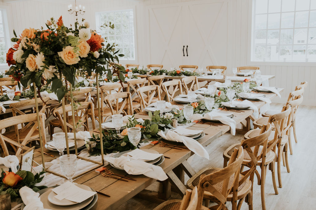 Long table dinner, west coast florals