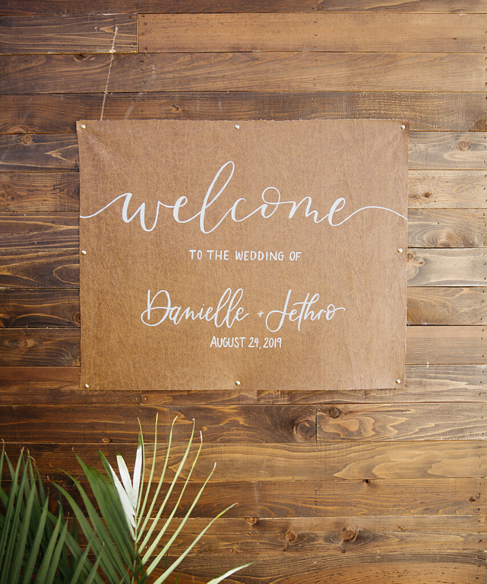 faux leather wedding signage
