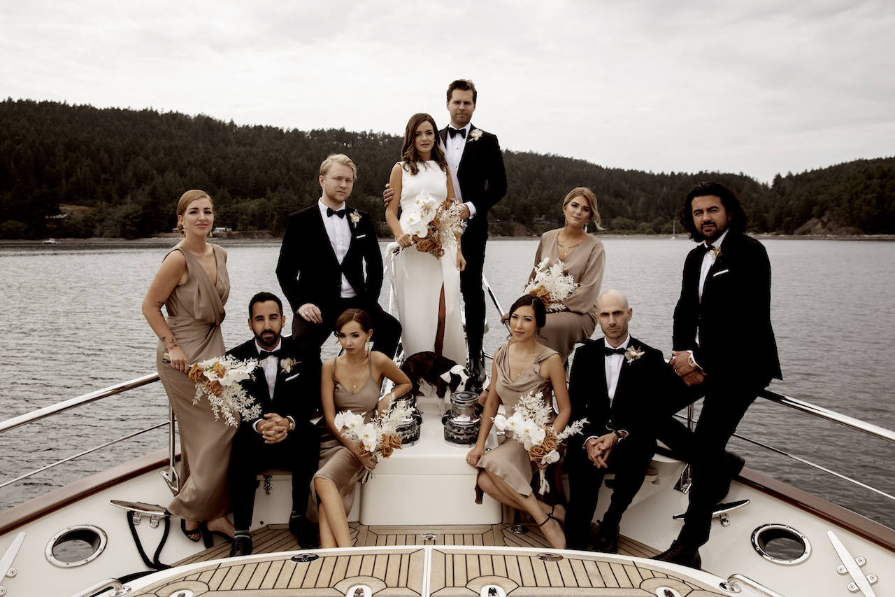 black and white and taupe bridal party