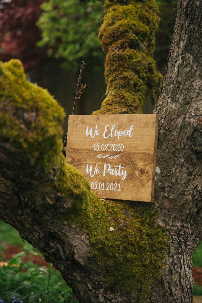 elopement wedding sign