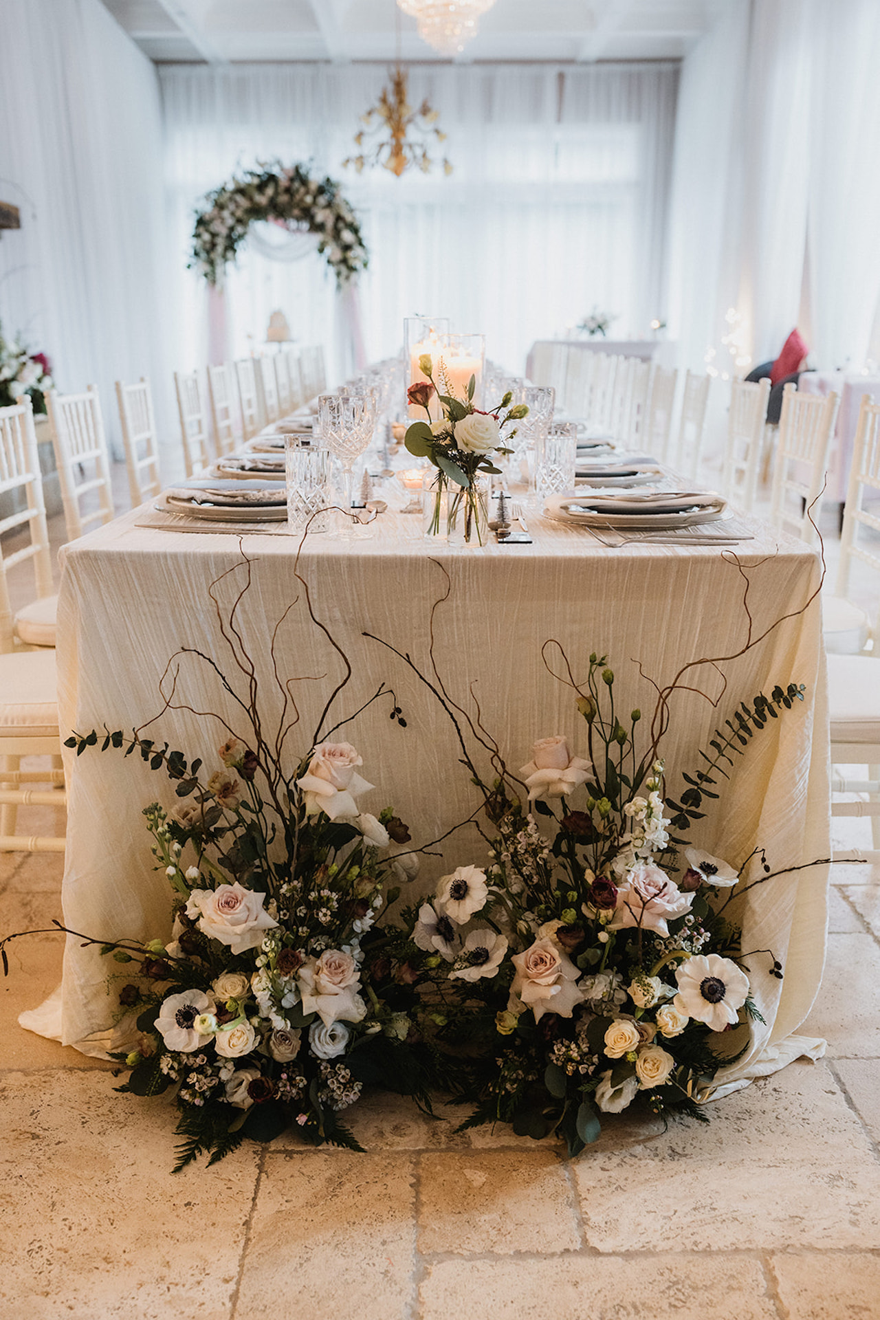 long tabled dinner greenery florals