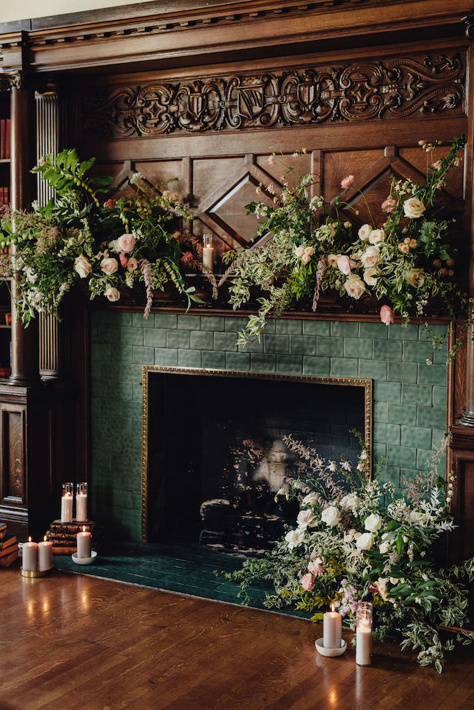 antique fireplace pink florals