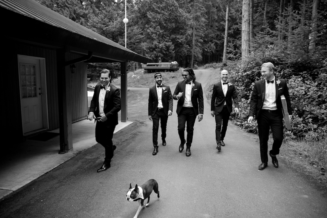 groomsmen and dog
